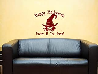 Vinylsay Happy Halloween Enter If You Dare Wall Decal, 18.5 by 16-Inch, Matte Dark Red