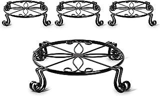 Cosyland 植物支架 金属直径 11.8 英寸(约 30.0 厘米)重型盆栽支架室内室外防锈铁花园容器圆形支撑架适用于 12 英寸(约 30.5 厘米)花盆 4 件装