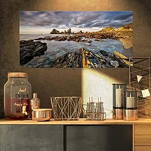 """Designart 西班牙大西洋海岸摄影 蓝色 32x16"""" PT9230-32-16"""