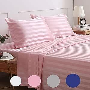 Treely 丝滑缎床单套装超柔条纹床单套装带深袋床笠,床单,枕套 粉红色 两个