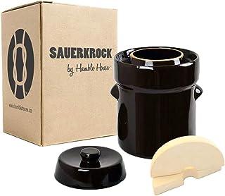 Humble House 德国式发酵 Crock SAUERKROCK 水密封罐、盖子和重量 - 用于发酵酱、Kimchi 和挑库! 传统棕色 2L HHSK102