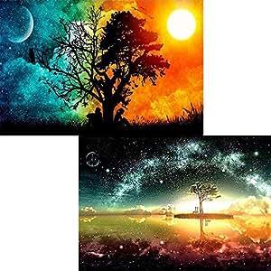 DIY 5D 钻石画 Number Kits 水晶水钻刺绣绘画图片艺术家居墙饰 Starry Sky and Sun & Tree qcwl-zsh-00003