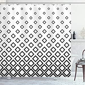 Geometric Shower Curtain by Ambesonne, Minimalist Square Shaped Forms Abstract Artistic Simplistic Figures Graphic, Fabric Bathroom Decor Set with Hooks, 70 Inches, Black White