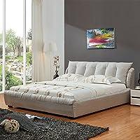 【下单赠价值398元乳胶枕1个】左右 布床 仿真丝布艺 双人床 北欧卧室组合 DR038+DCW023 浓情灰色 235cm*202cm*93cm