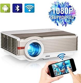 1080P 支持视频投影仪带 WiFi,*5000 流明家庭影院投影仪带 Android OS,蓝牙,兼容智能手机、电视棒、DVD、PS4、HDMI/VGA/USB/VA 适用于户外电影