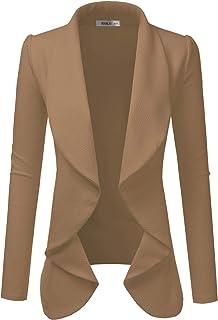 Doublju 经典垂褶前开襟女式外套 加大码