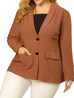 Agnes Orinda 女式加大码西装外套披肩领开襟工作休闲外套