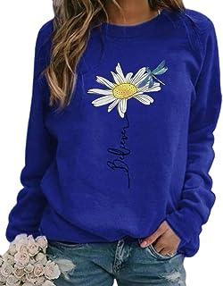 zeyubird 女式休闲雏菊蜻蜓字母印花上衣秋季圆领长袖套头运动衫