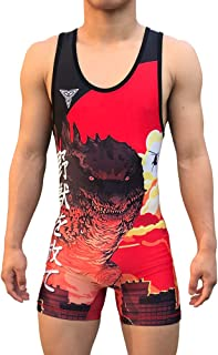 TRI-TITANS 哥斯拉红色Funk Fighter 摔跤汗衫青年和成人男士尺码