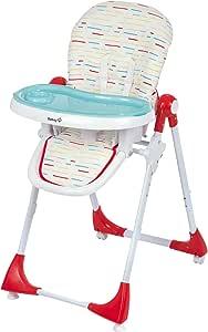 Safety 1st Kiwi 高脚椅,可调节高度,小桌子带可拆卸托盘,小巧可折叠,适合6个月以上,重达15公斤的儿童,红色 / 条纹
