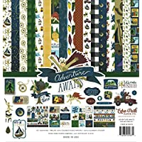 Echo Park Paper Company AA163016 Adventure Awaits Collection Kit 纸 蓝色、*、黄色、红色、金色