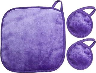 NUGILLA | 更新超细纤维卸妆布 | 可重复使用面部清洁布 | 可洗卸妆垫 适用于脸部/*/唇部 | 环保礼品,3 件装(2 片垫,1 块布)