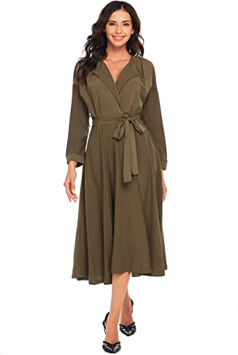 OD'lover 女式修身喇叭中长款休闲连衣裙带口袋,纯色
