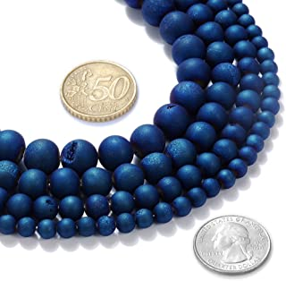 FANGQUN 哑光花式蓝色玛瑙珠 Geode 宝石珠 适用于珠宝制作 6mm 8mm 10mm (10mm)