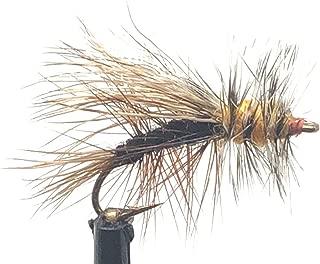 饲料溪飞钓鳟鱼苍蝇 - 刺激黑色干蝇 - 手工绑带诱饵/鳟鱼 - 4 种尺寸分类 12,14,16,18 - 一打(每种尺寸有3种)