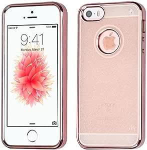 Asmyna 苹果 iPhone SE 优质糖果手机壳 - 玫瑰金色透明闪光