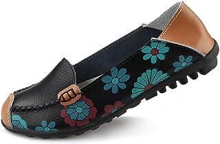 Ablanczoom 女式舒适皮革花卉印花平底鞋休闲驾驶乐福鞋女式步行鞋 黑色 11.5