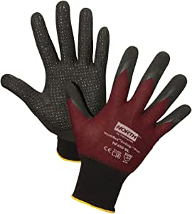 North by Honeywell NF45G/7S Plus Micro-Foamed Nitrile Palm-Coated Gloves, Size 7/Small