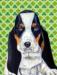 Basset Hound St. Patrick's Day Shamrock Portrait Flag 多色 大
