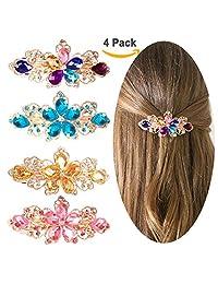 Jaciya 4 件装水晶发夹 母亲节礼物 莱茵石 发夹 法国发夹 花卉 发夹 发夹 适合女性的发夹 弹簧夹 4 种颜色