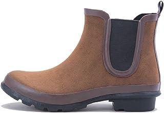 晴雨两用 天然橡胶雨鞋 绒面革风 レインブーツ Mサイズ 靴 防水 通勤