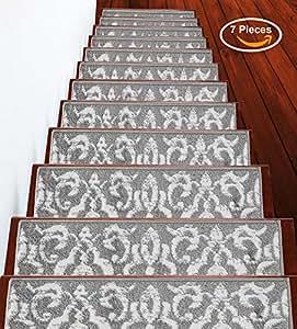 Sussexhome 花朵系列 灰色 Stair Treads 7-Pack FLRL-GR-7Pack
