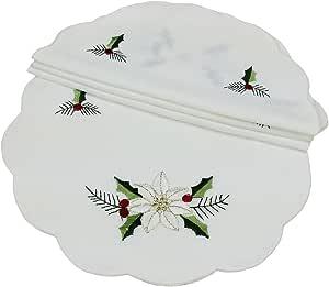 Xia Home Fashions 4 件装乡村府绸刺绣下摆针织圣诞花边 白色 16-Inch Round XD68036
