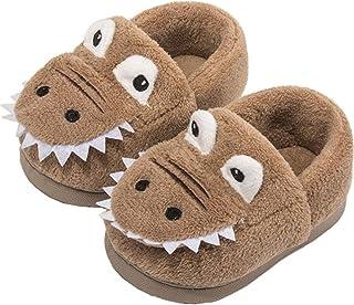 MOFEEDOUKA 女孩男孩拖鞋儿童温暖恐龙屋家居室内毛绒学步鞋