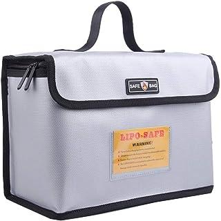 AsFrost 防火防爆 Lipo *袋 适用于锂聚合物电池储存和充电 大容量锂聚合物电池*袋 Lipo Guard Sack Safe Case 带双金属拉链 (10.24 x 7.09 x 5.12 英寸)