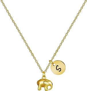 MEMGIFT 18K 金精致大象首字母项链女士可爱精致手工个性化 26 个字母不锈钢珠宝礼品,适合生日、圣诞节、母亲节、情人节。