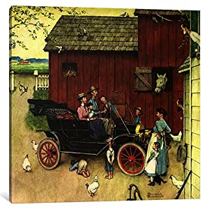 """iCanvasART The Farmer Takes A Ride Canvas Print by Norman Rockwell, 18 by 18""""/1.5"""" Deep"""