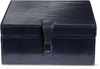 K&K Interiors 15893A-2 8 英寸方形皇家蓝皮革内衬盒带磁扣