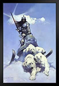 Frank Frazetta 创作银色战士艺术版画海报 30.48x45.72 cm 裱框海报 14x20 inches 300353