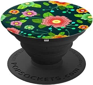 复古花卉背景,复古炫酷花朵 – PopSockets 手机和平板电脑抓握支架260027  黑色