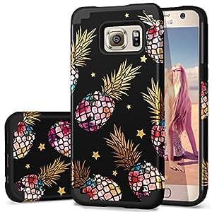 S6 手机壳,菠萝三星 S6 手机壳,Fingic 可爱菠萝设计纤薄手机壳 2 合 1 混合材质硬质背壳和软硅胶凸缘边减震保护套三星 Galaxy S6 T084-04 Black