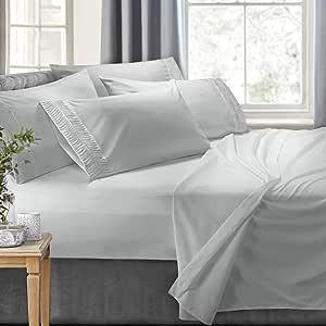 Clara Clark 床单套装豪华褶皱设计 银色 加州King size sc-CC-Arrow-Sht-CK-Slvr