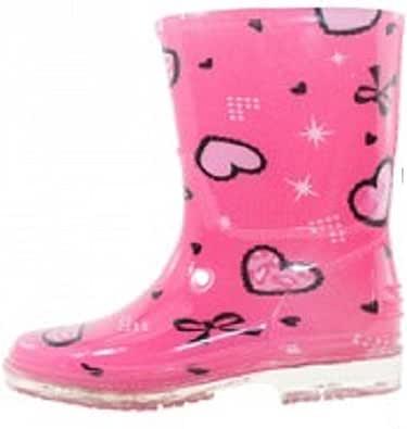shoes8teen 儿童中性款雨靴 Sh18 Fushia Hearts 12 M US 儿童