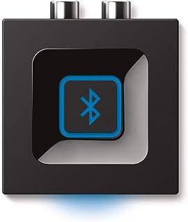 Logitech 罗技 无线蓝牙音频接收器 蓝牙适配器 适用于 PC/Mac/智能手机/平板电脑/AV 接收器 3.5 毫米音频和 RCA 输出到扬声器 一键配对按钮 英式插头 - 黑色/蓝色