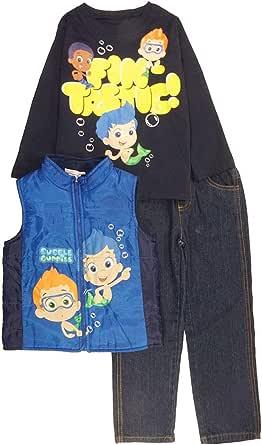 Nickelodeon 男童衬衫牛仔裤和背心 3 件套(2T,蓝色)