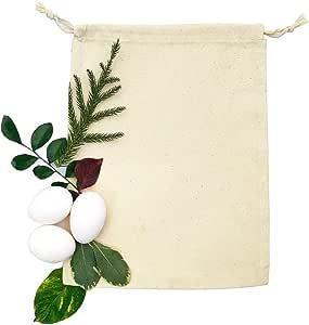 * *棉,可生物降解和可重复使用的优质棉布抽绳袋,有 15.24 x 20.32 x 25.4 厘米(25 个装) 天然 6X10 INCHES