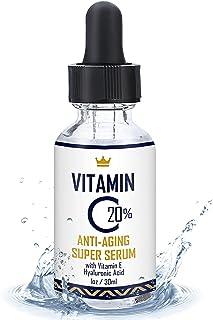 维生素 C 面部精华 1 盎司 - 20% 维生素 C 精华,含透明质酸和维生素 E - 美国制造*保湿面部精华 - 适合年轻和更亮肌肤的*佳抗皱解决方案