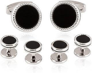 Cuff-Daddy Tuxedo 袖扣饰钉正式套装 黑色缟玛瑙银色带礼盒