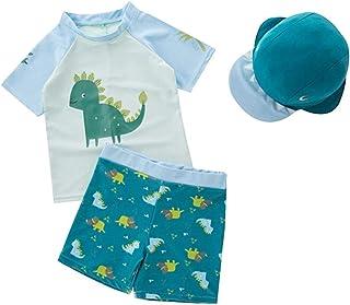 XmasPJS 婴儿幼儿男孩两件套泳衣套装男孩恐龙泳衣带帽子*衣 UPF 50+