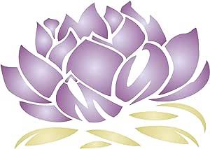 Lotus Blossom 模板 - 组合不同尺寸以获得这些效果 - 可重复使用的墙式模板 - *佳质量的莲花模板模板 - 用于墙壁、地板、织物、玻璃、木材、陶罐等等. M 43216-55373
