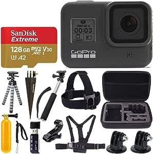 GoPro HERO8 黑色防水动作摄像机带触摸屏,4K 高清视频,12MP 照片 + Sandisk Extreme 128GB 微型存储卡 + 硬壳 + 头带 + 胸带 + Gopro Hero 8 - *价值配件