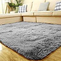 富居 地毯加柔长绒客厅卧室地毯 (灰色, 140 * 200cm)