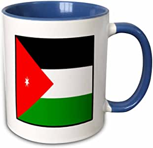 3drose florene 饰有世界国旗–饰有约旦国旗按钮–马克杯 蓝/白 11 oz