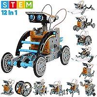 Sillbird STEM 12 合 1 教育太阳能机器人玩具 - 190 件 DIY 建筑科学实验套件,适合 8-10 岁以上儿童,太阳能供电