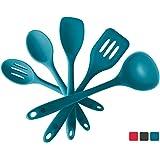 StarPack 优质硅胶厨房用具套装(5 件)卫生固体涂层 - 赠送 101 烹饪技巧 蓝绿色 Basics Range (FDA Grade) StarPack0030