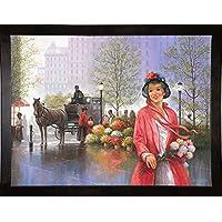 Frame USA Central Park Flower Market 镶框印刷品 63.50 厘米 x 85.44 厘米 John Zaccheo-JOHZAC81577, 25x33.25, 咖啡色浓咖啡色